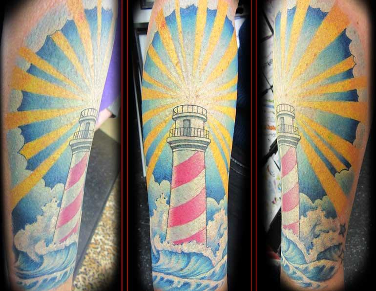 tattoo of a lighthouse
