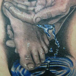 Tattoo of feet and hands